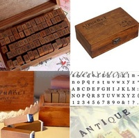 FD2171 Alphabet Letter Number Wood Rubber Stamps Set Wooden Box 70pcs Inside