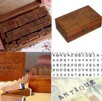 FD2171 Número Letra Do Alfabeto de Madeira Carimbos De Borracha Definir Caixa De Madeira 70 pcs Dentro