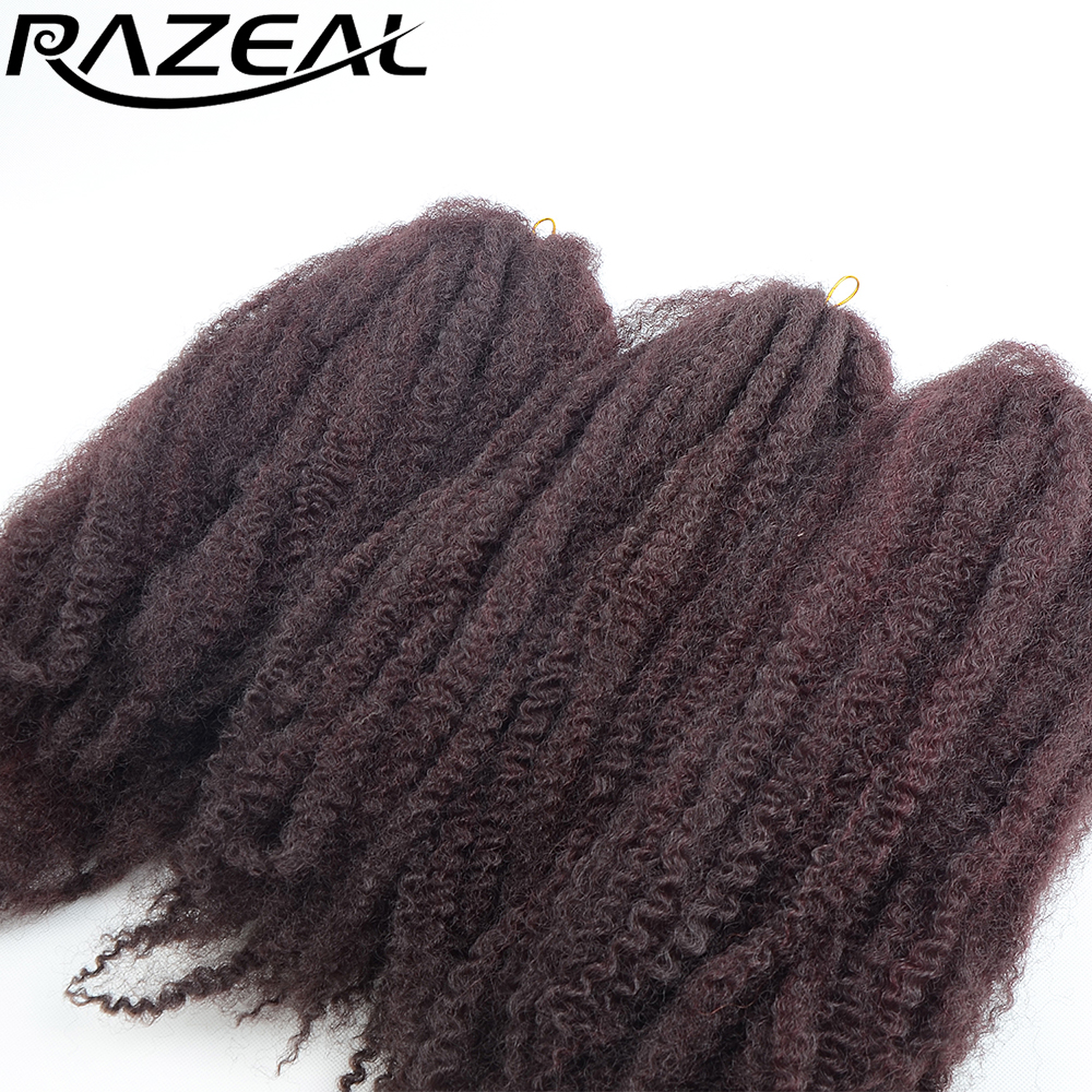Razeal 9 PACOANE Afro Kinky Marley Extensii Braid Crochet Braids 100g / buc Burgundy Sintetice Braiding Păr Fibre de Temperatură înaltă
