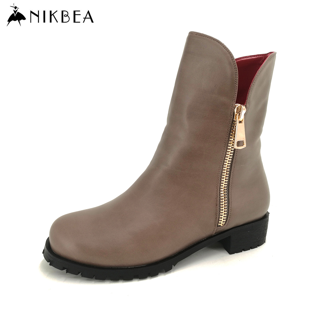 Nikbea Brand Vintage Ankle Boots for Women 2016 Fashion Winter Boots Flats Ladies Pu Leather Boots Women Booties Shoes Autumn nikbea vintage western boots cowboy ankle boots for women pointed toe boots winter 2016 autumn shoes pu chunky low heel booties