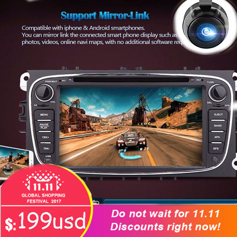 4 Core 1G RAM 2Din Android 6.0 car DVD player for ford/mondeo/s-max/c-max/galaxy/focus Audio Radio Stereo GPS Navigation 4G