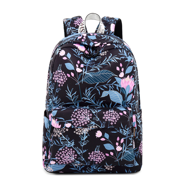 Aliexpress Waterproof Black Flower School Backpack With 15 6 Laptop Sleeve Cute Bookbag For S Women Casual From Reliable