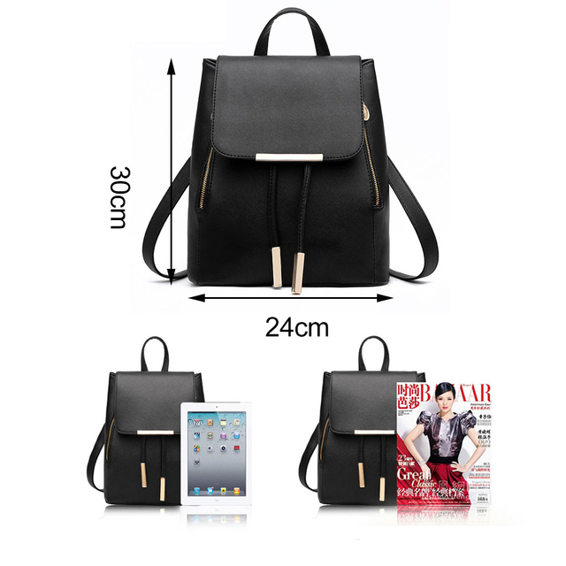 Women Backpack High Quality PU Leather Mochila Escolar School Bags For Teenagers Girls Top-handle Backpacks 3