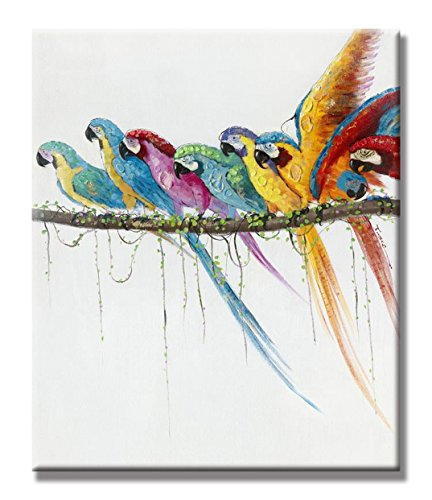 hand painted oil painting animal parrot in the branches with stretched frame 20 x 24 inch