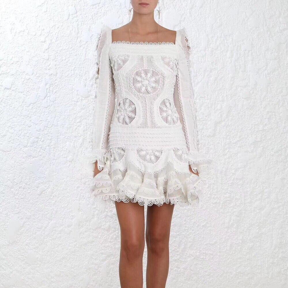 Для женщин панелями Whitewave салфетка платье Белый воланами манжеты шелковое белье органза салфетка мотивы мини платье с ручной роуло