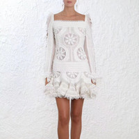 Women Panelled Whitewave Doily Dress White Flounced Cuffs Silk Linen Organza Doily Motifs Mini Dress With Hand Crafted Rouleau