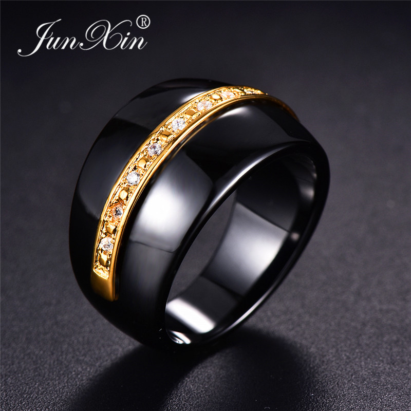 MENS STAINLESS STEEL BLACK POLISHED 8mm WIDE BAND RING THUMB FINGER WEDDING