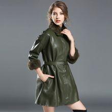 2016 Winter Style Warm Fur Coat Fox Fur Coat PU Sleeve Loose Cape Coats Medium Long Overcoat Womens Jacket Women Basic Coats