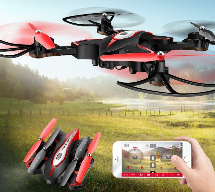 Syma X56W Foldable RC Quadcopter With HD HD Camera 4 Channel Headless Mode A Key Take off Landing Airplane- Drone leadingstar 2018 world cup football foldable rc drone 3d flips one key take off landing headless rc quadcopter helicopter