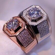 Choucong 90% Скидка Роскошные ювелирные изделия 10kt белый и однотонный цвет розовое золото круглое сечение белый 5A CZ вечерние мужские обручальное кольцо с паве подарок