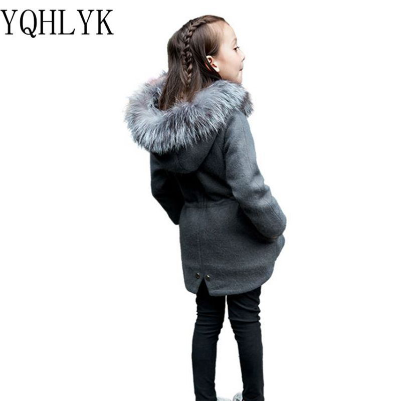 цена на New Fashion Autumn Winter Girls Coat 2017 Korean Children Hooded Thicken Woolen Overcoat Casual Joker Kids Clothes 5-12Y W51