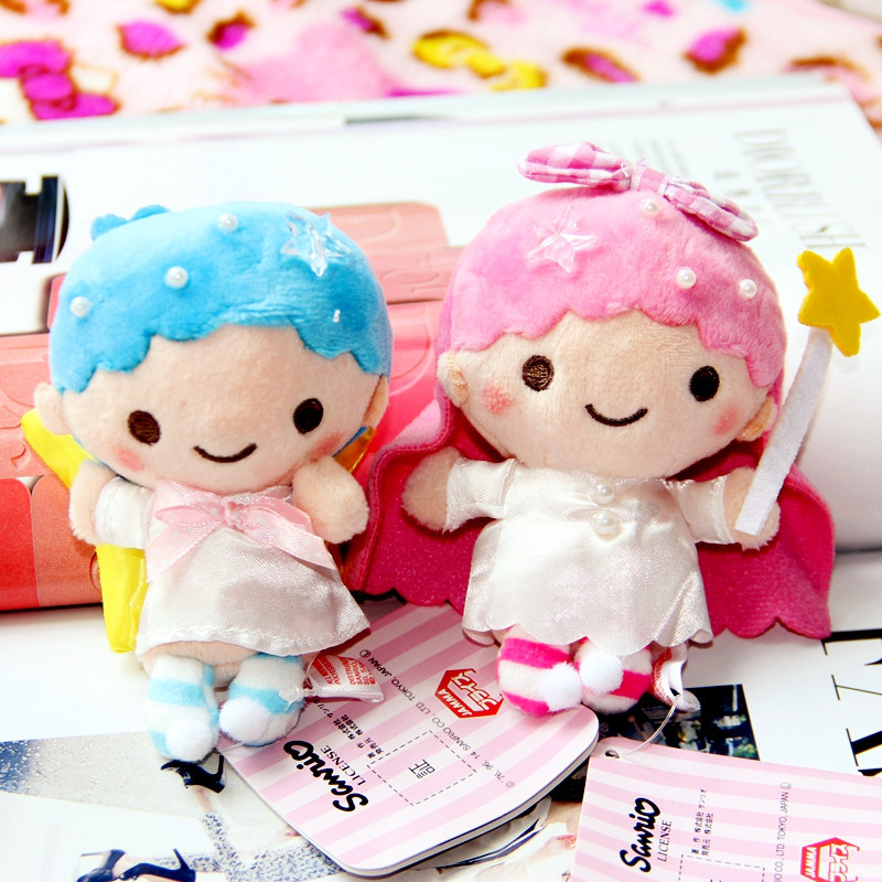 2pcs Mini Little Twin Star Gemini Bag Accessory Key Chain Plush Soft Doll Animal Stuffed Toy