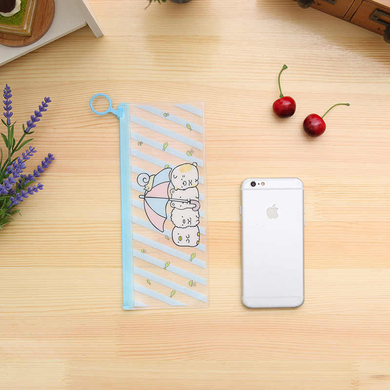 Kawaii Bear пластиковые пеналы для карандашей прозрачная подставка держатель для файлов милые пеналы для Детские Канцелярские принадлежности Школьные принадлежности