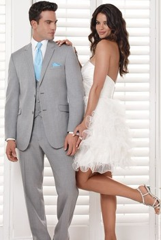 Custom Made Groom Tuxedo Groomsmen Light Gray Wedding/Dinner/Evening Suits Best Man Bridegroom (Jacket+Pants+Tie+Vest) B113
