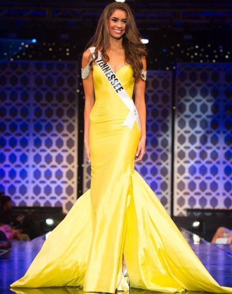 REINAS VESTIDAS DE AMARILLO  Vestido-de-noche-de-Miss-Teen-EE-UU-Trompeta-Fuera-Del-Hombro-Amarillo-Largo-de-Tafet