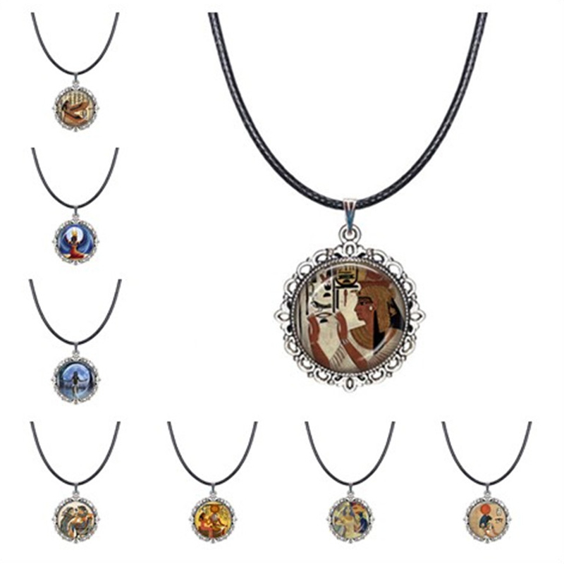 Egyptian Goddess Isis Choker Necklace Egyptian Myth Queens Pendant Egypt Bastet Mural Necklace Hieroglyphics Jewelry Glass Dome