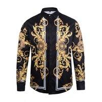 2017 The New Male Flowers Faith Printing Long Sleeves Shirt 3D Lapel Fashion Business Shirt Apparel