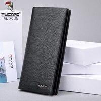 TUCANO luxury brand men wallets long genuine leather slim bifold wallet male card holder purse