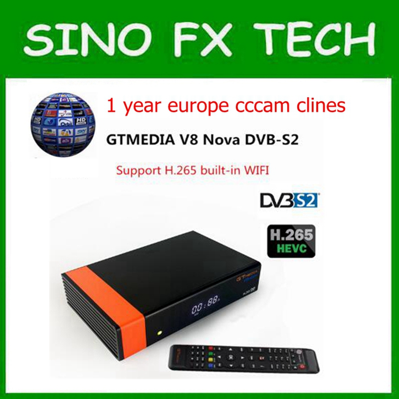 Gtmedia V8 NOVA DVB S2 satellite receiver with 1 year europe cccam PowerVu DLNA, SAT To IP H.265, AVS+ freesat V9 super цена