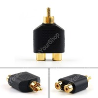 Sale 100 Pcs Gold Plated RCA Adapter Audio Y Splitter Plug 1 Male To 2 Female