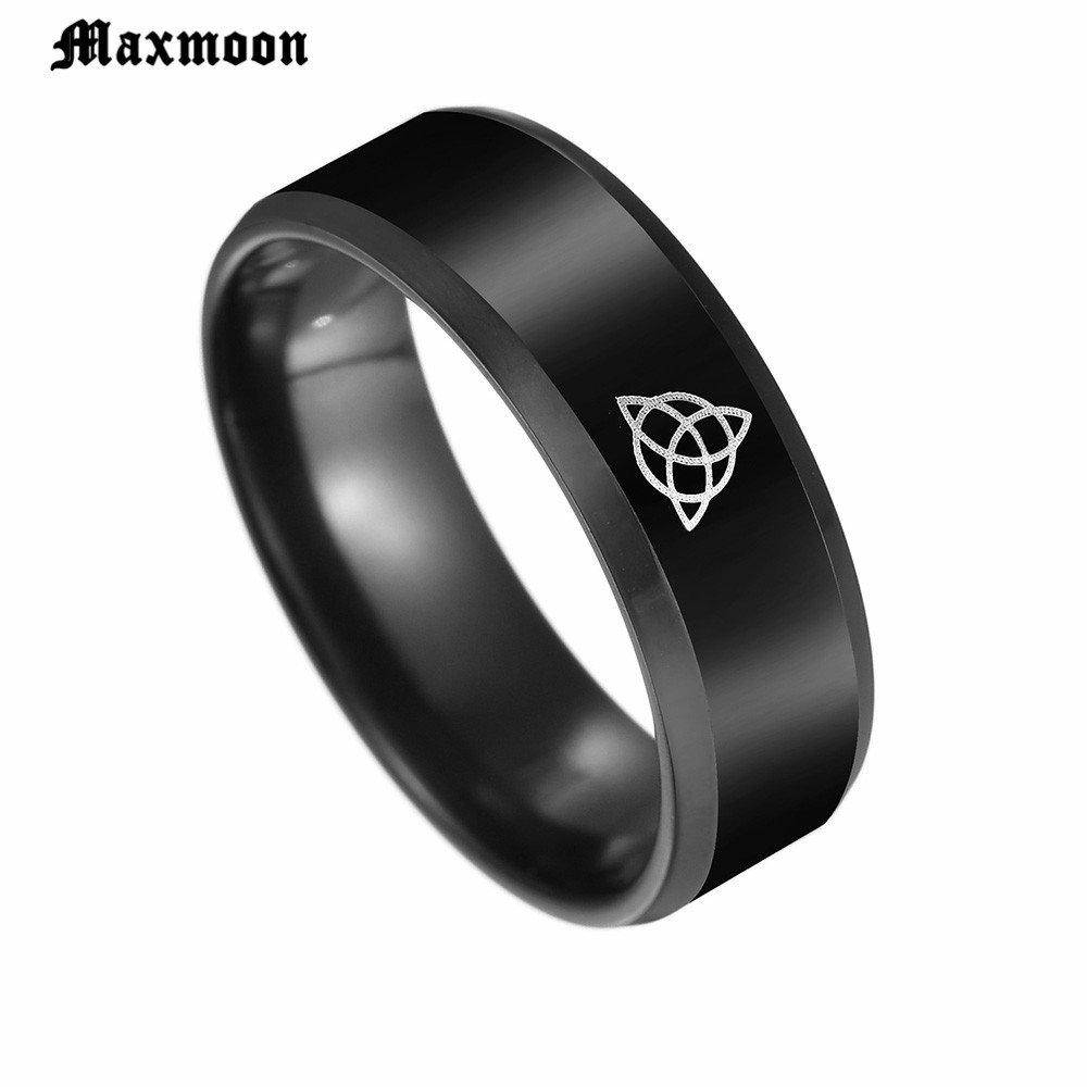 Maxmoon Black color Celtics Knot Magic Ring Stainless Steel Fenrir Irish Knot Signet Men Ring For Vikings Amulet Ring
