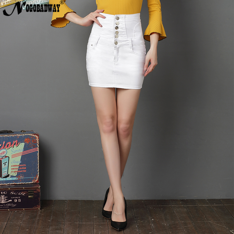 a8c8fcbc1f High Waist Stretch Short Denim Skirt Women White Black Sexy Pencil Skinny  Mini Jeans Skirts Button Lace up Summer jupe Plus Size-in Skirts from  Women's ...