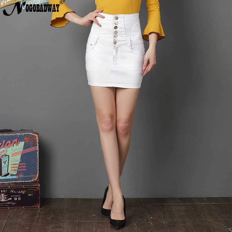 307c62120 High Waist Stretch Short Denim Skirt Women White Black Sexy Pencil Skinny  Mini Jeans Skirts Button
