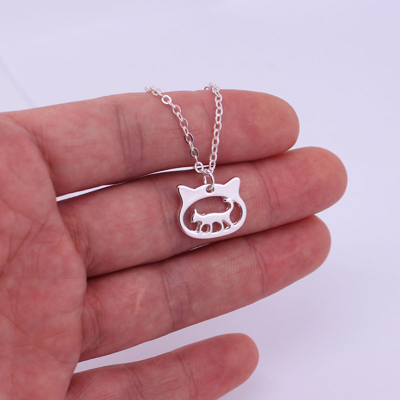 hzew cat head and cute cat pendant necklace cat necklaces cat lover gift in Chain Necklaces from Jewelry Accessories
