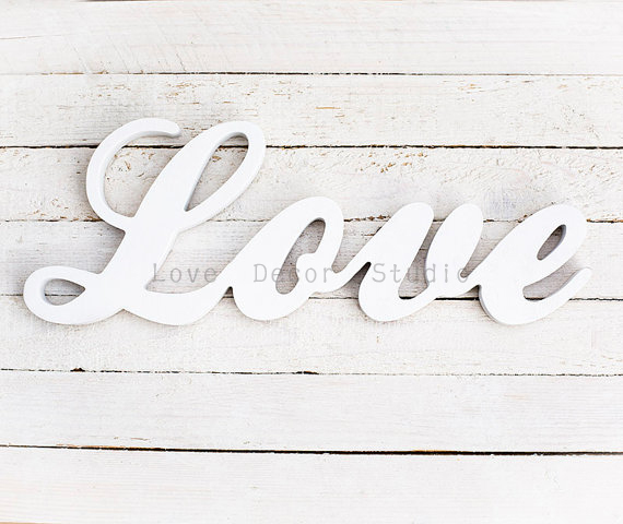 Love White Wedding Decor Script Distressed Home Decoration Custom Letters  Design Sweetheart Table Any Color