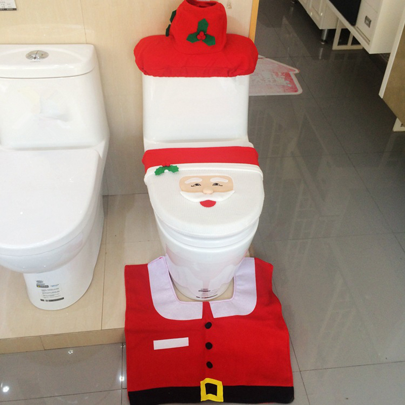 3 Pc Set Creative Santa Toilet Seat Cover Sets Clothes Christmas Decorations Bath Mat Holder Closestool Lid In Covers From