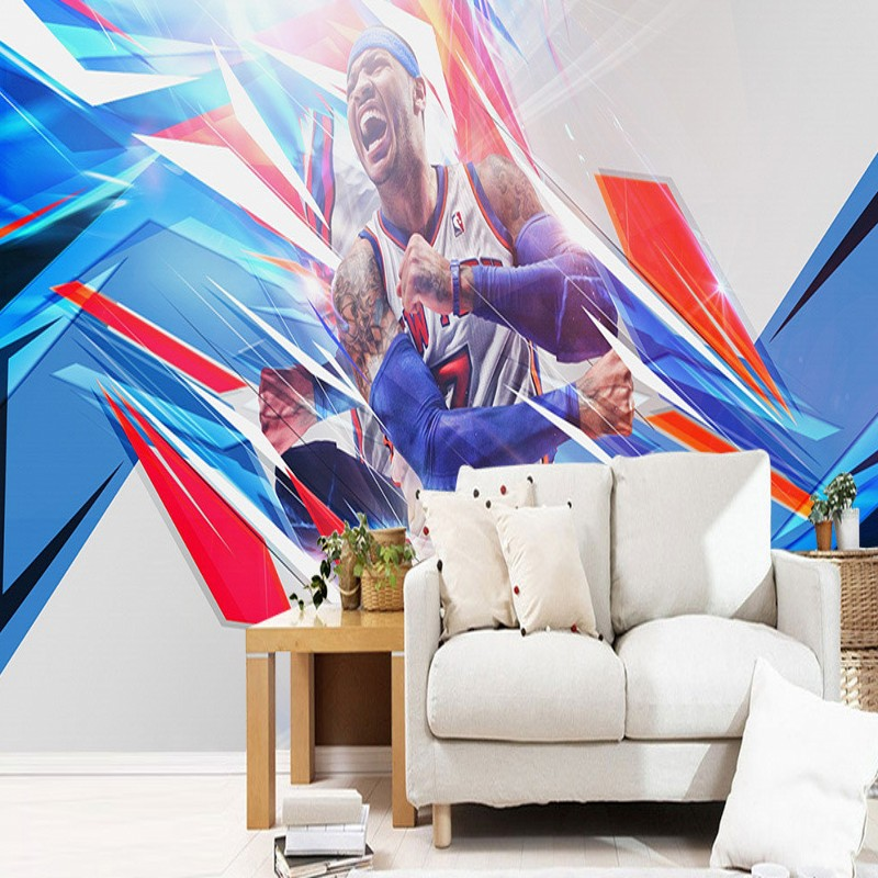 Free Shipping Basketball superstar background wall waterproof moisture-proof high quality self-adhesive bedroom mural wallpaper  free shipping basketball function restaurant background wall waterproof high quality stereo bedroom living room mural wallpaper