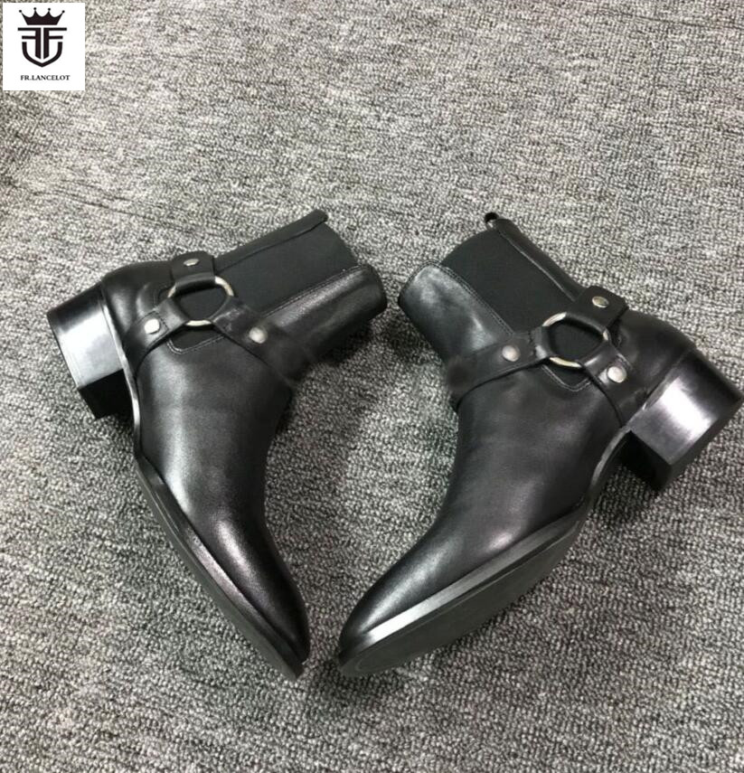 FR. LANCELOT 2018 Nuovi uomini di Cuoio reali Stivaletti Moda sliver catene Chelsea scarpe Stivali da uomo Moda Primavera autunno Stivali