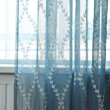 2018 Hot Sales blue Embroidered european waves style Window sheers Home Decor Curtain Cut Flowers tulles 1pc