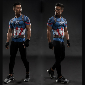 TUNSECHY fashion Brand Captain America 3D Printed T-shirts Men Marvel Avengers iron man Fitness Clothing Male Tops T-shirts(China)