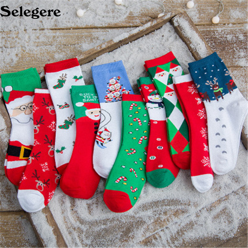 10sets/lot 2018 Women Mid tube socks Gift box cartoon lady adult tube socks Christmas socks gift big red