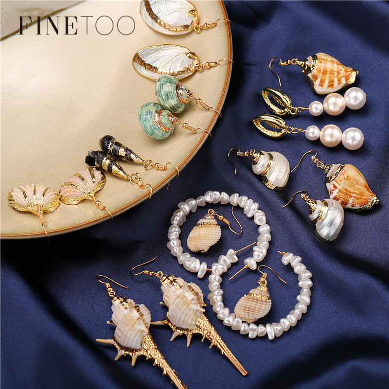 Boho Ocean Beach Conch Cowrie Sea Shell Earrings for Women Fashion Geometric Irregular Pearl Statement Earrings Pendientes Mujer