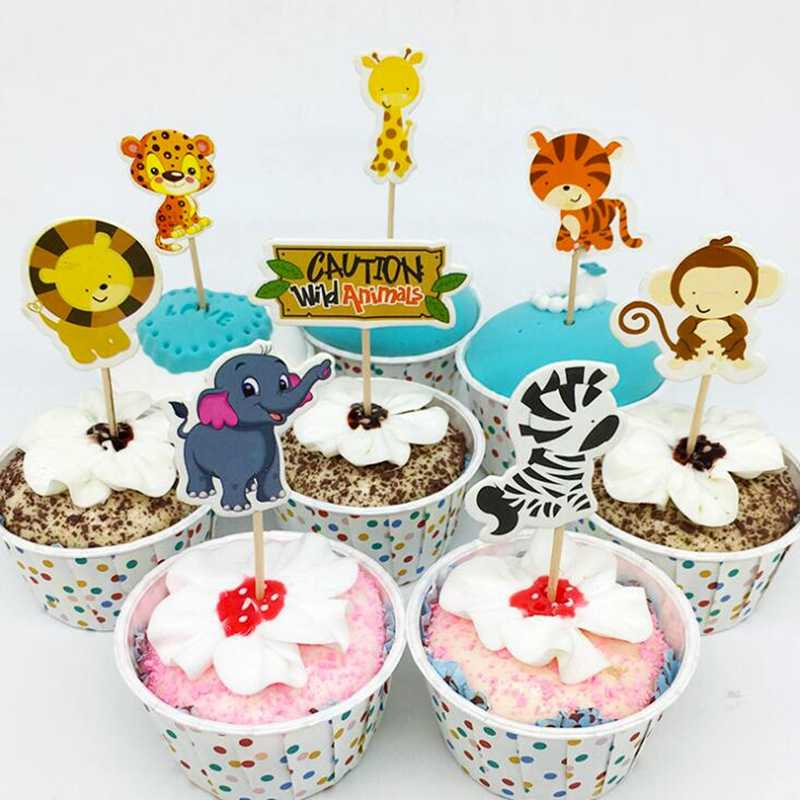 24pcs Lot Safari Jungle Animal Cupcake Toppers Picks Birthday Party Decoration Kids Baby Shower Boy
