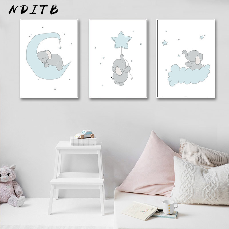 Nditb Cute Cartoon Elephant Moon Canvas Art Painting