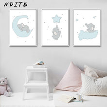 NDITB Cute Cartoon Elephant Moon Canvas Art Painting Posters Prints Decorative Picture Baby Bedroom Nursery Wall Decoration(China)
