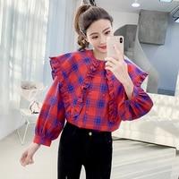 Korean Chic Casual Preppy Style Plaid Women Blouses Loose Peter Pan Collar Puff Sleeve Tops Woman Ruffle Shirt Women 2019 Spring