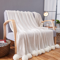100% cotton high quality throw stripe knit blanket with ball white, gray, pink, green blanket for sofa