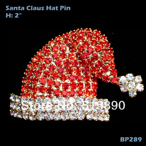 Red Hat Santa Pin Rhinestones Ideas Xmas Party Pageant Decoration Brooch BP289