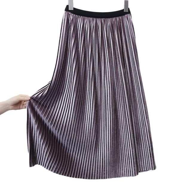 d953d7329 US $19.08  2016 Autumn Winter Korean Pleated Velvet Skirts Womens High  Waist Shiny Pleated Skirts Vintage Long Skirt Falda Mujer-in Skirts from ...