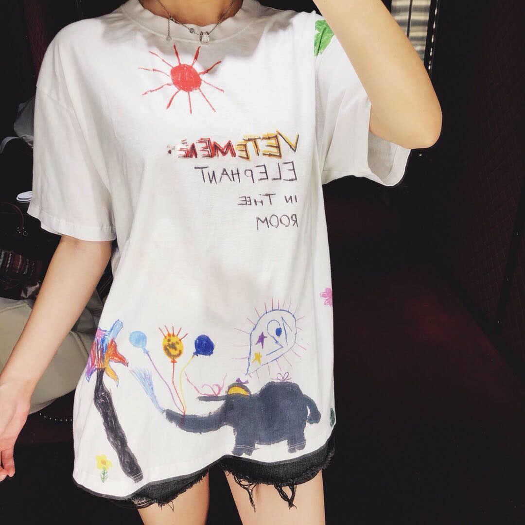 02ef6eae 19SS Cartoon Vetements T Shirt Men Women Streetwear Graffiti T-shirt  Harajuku Cotton Top Tee