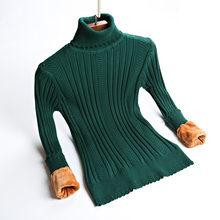 bac9c1c25ff0ba Plus Rozmiar S-2XL Grube Ciepłe Kobiety Sweterek Sweter Moda Dzianiny Z  Velvets Jumper Top Rib Silm Kobiet Sweter Z Golfem