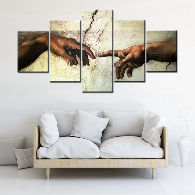 Posters and Prints Artwork The Creation Of Adam Canvas Painting ...