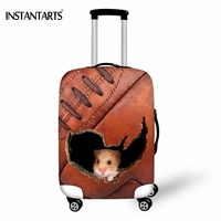 INSTANTARTS Brown Skin Hole Mouse Print Travel Luggage Protective Covers Trunk Case Thicken Cover Apply To