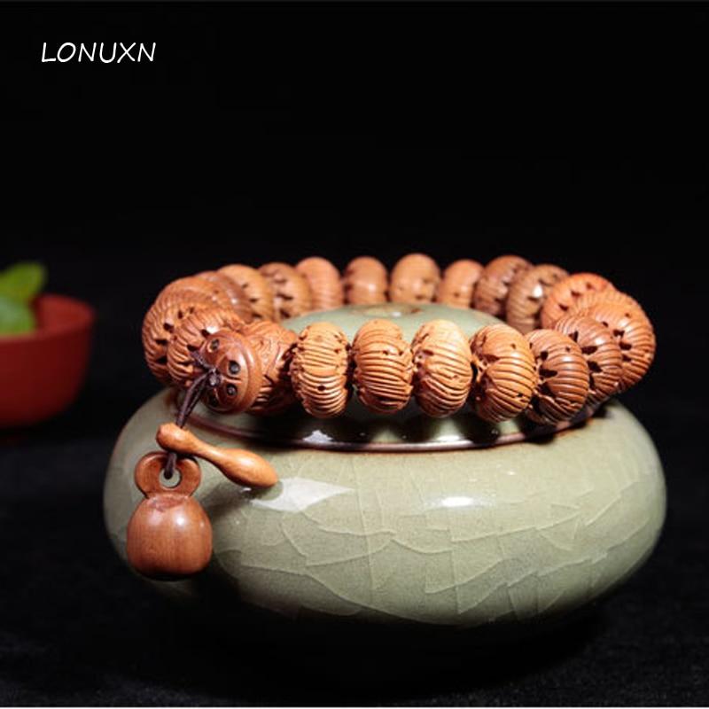 15mm Natural Mahogany Lotus Prayer Couple Bracelets Tibetan Buddhist Prayer Beads Carve Lotus Buddha Rosary Wooden Jewelry