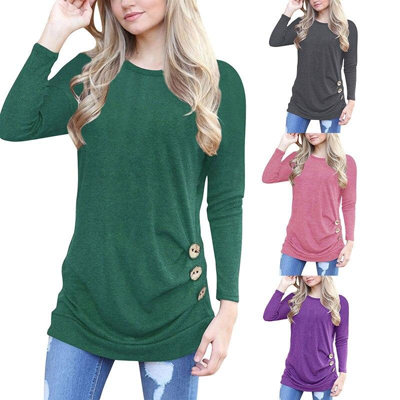 Confortable noir à manches longues chemise femmes T chemise de grande taille femmes t-shirt 2018 coréen vêtements décontracté rose automne dessus de chemise t-shirts