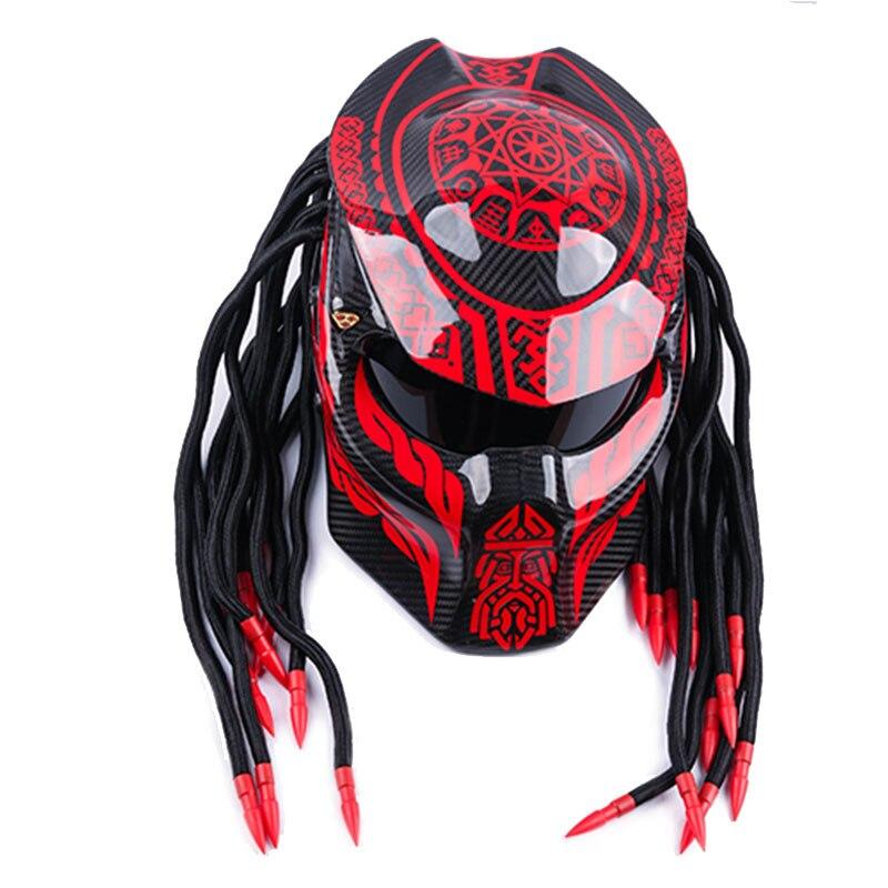 Plein visage moto En fiber de Carbone casque De Fer sang Guerrier démon nuit moto casque Personnalité Harley braid riding casque